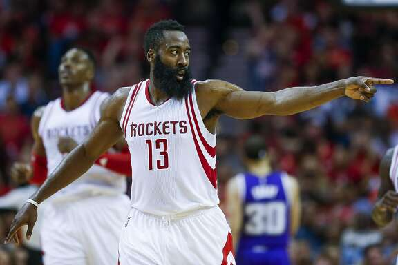 Houston Rockets guard James Harden (13) celebrates after a thee-point shot as the Houston Rockets beat the Sacramento Kings 116-81 at the Toyota Center and head to the playoffs Wednesday, April 13, 2016 in Houston. ( Michael Ciaglo / Houston Chronicle )