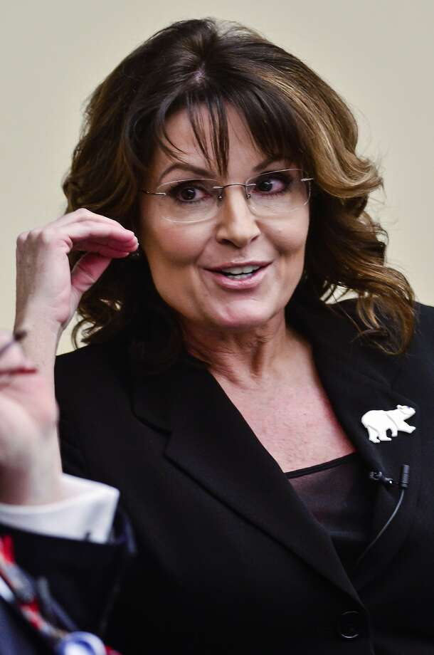 "Former Governor Sarah Palin speaks during the ""Climate Hustle"" panel discussion at the Rayburn House Office Building on April 14, 2016 in Washington, DC.  Photo: Kris Connor, Getty Images"