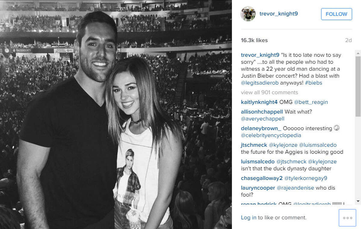 Trevor Knight's big week included being named Texas A&M's starting quarterback and attending a Justin Bieber concert with Sadie Robertson of Duck Dynasty fame. (Via trevor_knight9 on Instagram)