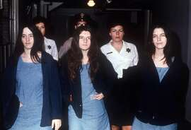 ** FILE ** Charles Manson followers convicted with him for the Tate-La Bianca murders of August 1969, from left to right, Susan Atkins, Patricia Krenwinkel, and Leslie Van Houten, return to court in this March 29, 1971, file photo. Van Houten, who was the youngest, and said to be the most vulnerable to Manson's control, hopes to be the first of the group to win a parole date during a hearing scheduled for June 28. She has been denied parole 13 times over the years. (AP Photo).     HOUCHRON CAPTION (06/01/2003): Atkins in 1971.