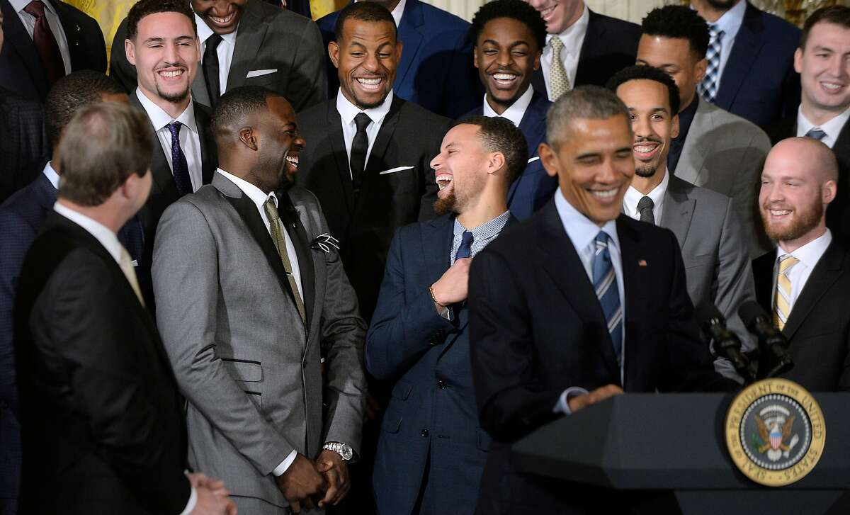 President Barack Obama welcomes the 2015 NBA Champion Golden State Warriors to the White House to honor the team on winning their Championship title on Feb. 4, 2016 in Washington, D.C. (Olivier Douliery/Abaca Press/TNS)
