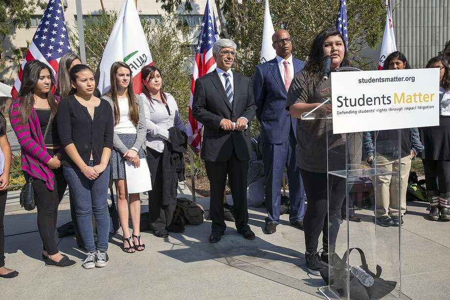 Raylene Monterroza, a student plaintiff, speaks at a news conference outside the Superior Court of Los Angeles County on the opening day of Vergara v. California, in Los Angeles, Jan. 27, 2014. A battle over the future of teacher tenure in California ended on Monday, Aug. 22, 2016, when the California Supreme Court refused to take up the case by student plaintiffs who argued that the states job protections for teachers deprived them of a quality education. The decision means teacher tenure laws remain intact. (Monica Almeida/The New York Times) Photo: MONICA ALMEIDA, NYT