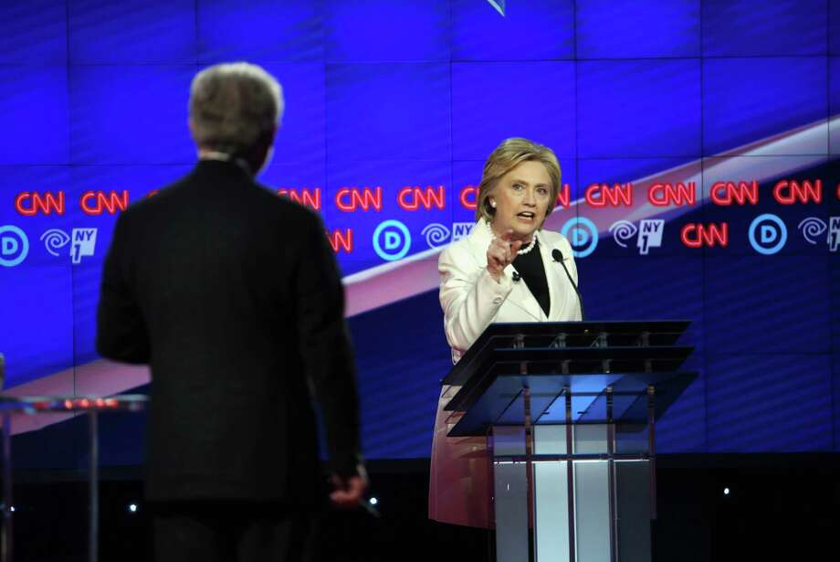 NEW YORK, NY - APRIL 14:  Democratic Presidential candidates Hillary Clinton and Sen. Bernie Sanders (D-VT) debate during the CNN Democratic Presidential Primary Debate at the Duggal Greenhouse in the Brooklyn Navy Yard on April 14, 2016 in New York City. The candidates are debating ahead of the New York primary to be held April 19.  (Photo by Justin Sullivan/Getty Images) Photo: Justin Sullivan, Staff / Getty Images / 2016 Getty Images