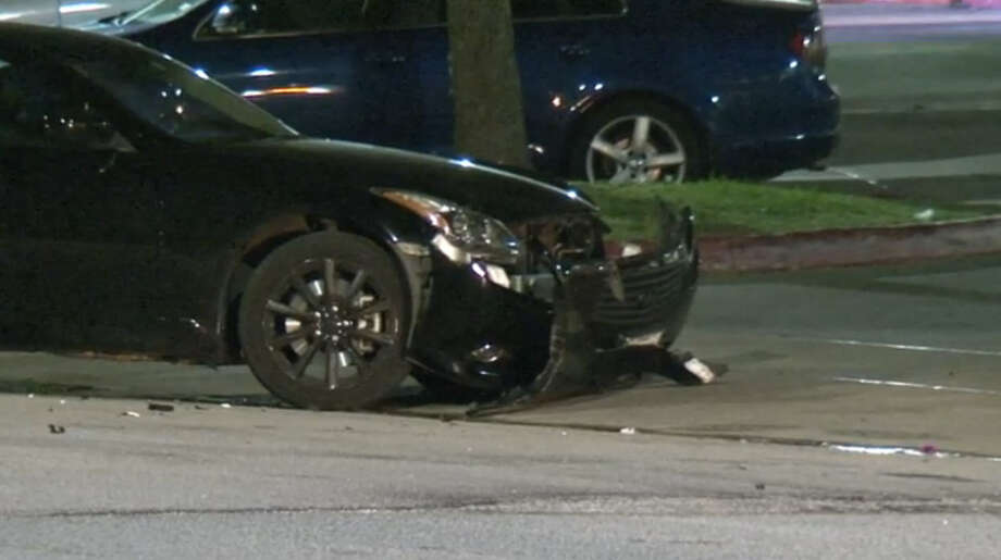 Two University of Houston students were injured, one critically, early Friday morning when a pickup truck rammed into them as they walked on a sidewalk near campus.Photo: Metro Video