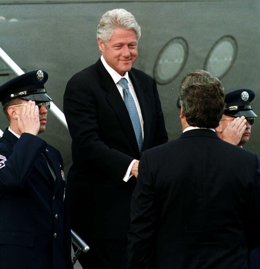 Times Union Staff Photo by Skip Dickstein -- President Bill Clinton is greated at Albany International Airport by Mayor Jerald Jennings of Albany, New York as he arrived to be with wife Hillary Rodham Clinton as she was named the Democratic candidate for Senator at the New York State Democratic Convention May 16, 2000. Photo: SKIP DICKSTEIN / ALBANY TIMES UNION
