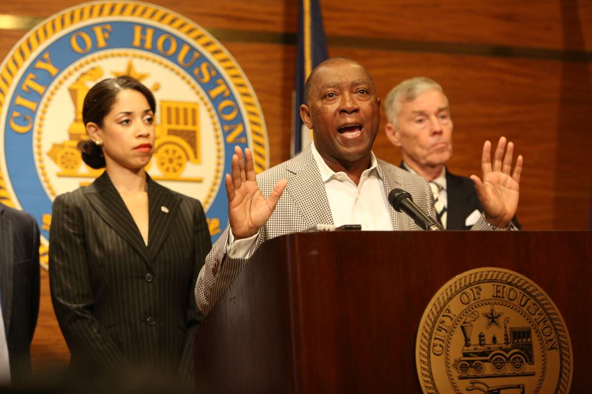 Mayor Sylvester Turner unveil his preliminary General Fund budget and detail how he has closed a $160 million budget gap. Steve Gonzales/Chronicle