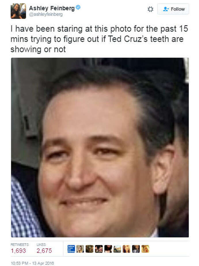 Are Ted Cruz's teeth showing in this photo? Probably not. Sure looks like it though. Twitter: @ashleyfeinberg