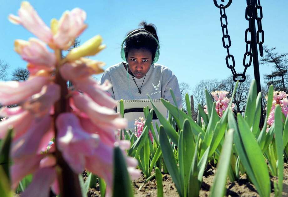 Sage College of Albany art/photography major Sasha Barnes works on a drawing of blooming hyacinth in Washington Park on Friday, April 15, 2016, in Albany , N.Y. (Michael P. Farrell/Times Union) Photo: Michael P. Farrell