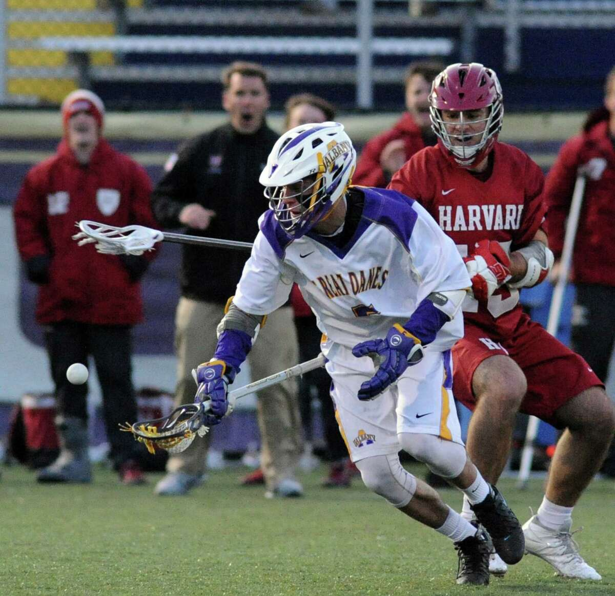 UAlbany's Connor Fields goes after the ball during their college lacrosse game against Hartford on Wednesday March 30, 2016 in Albany, N.Y. (Michael P. Farrell/Times Union)