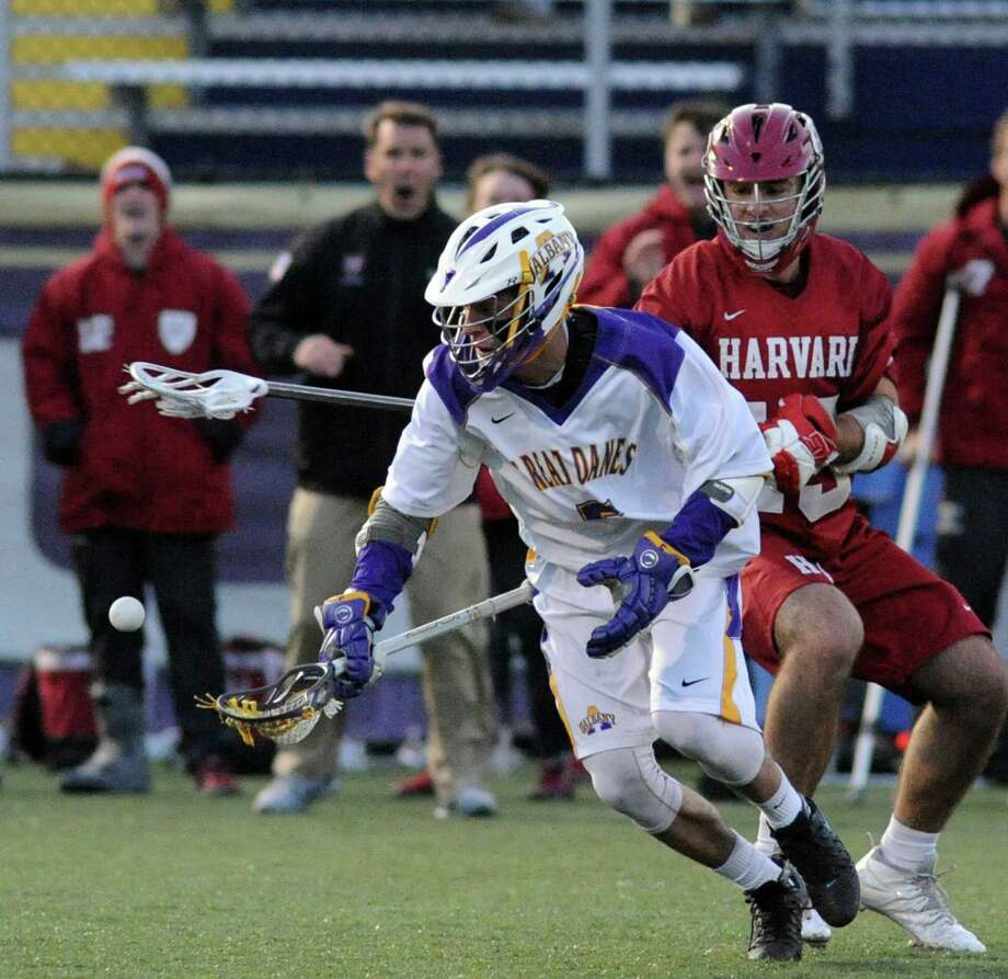 UAlbany's Connor Fields goes after the ball during their college lacrosse game against Hartford on Wednesday March 30, 2016 in Albany, N.Y. (Michael P. Farrell/Times Union) Photo: Michael P. Farrell / 10036023A