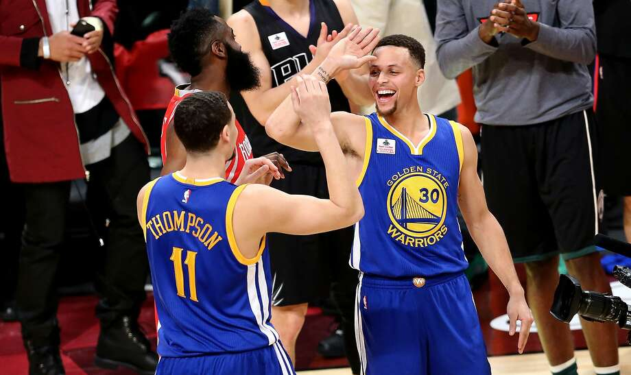 TORONTO, ON - FEBRUARY 13:  Klay Thompson of the Golden State Warriors  celebrates with teammate Stephen Curry after winning the Foot Locker Three-Point Contest during NBA All-Star Weekend 2016 at Air Canada Centre on February 13, 2016 in Toronto, Canada. NOTE TO USER: User expressly acknowledges and agrees that, by downloading and/or using this Photograph, user is consenting to the terms and conditions of the Getty Images License Agreement.  (Photo by Vaughn Ridley/Getty Images) Photo: Vaughn Ridley, Getty Images
