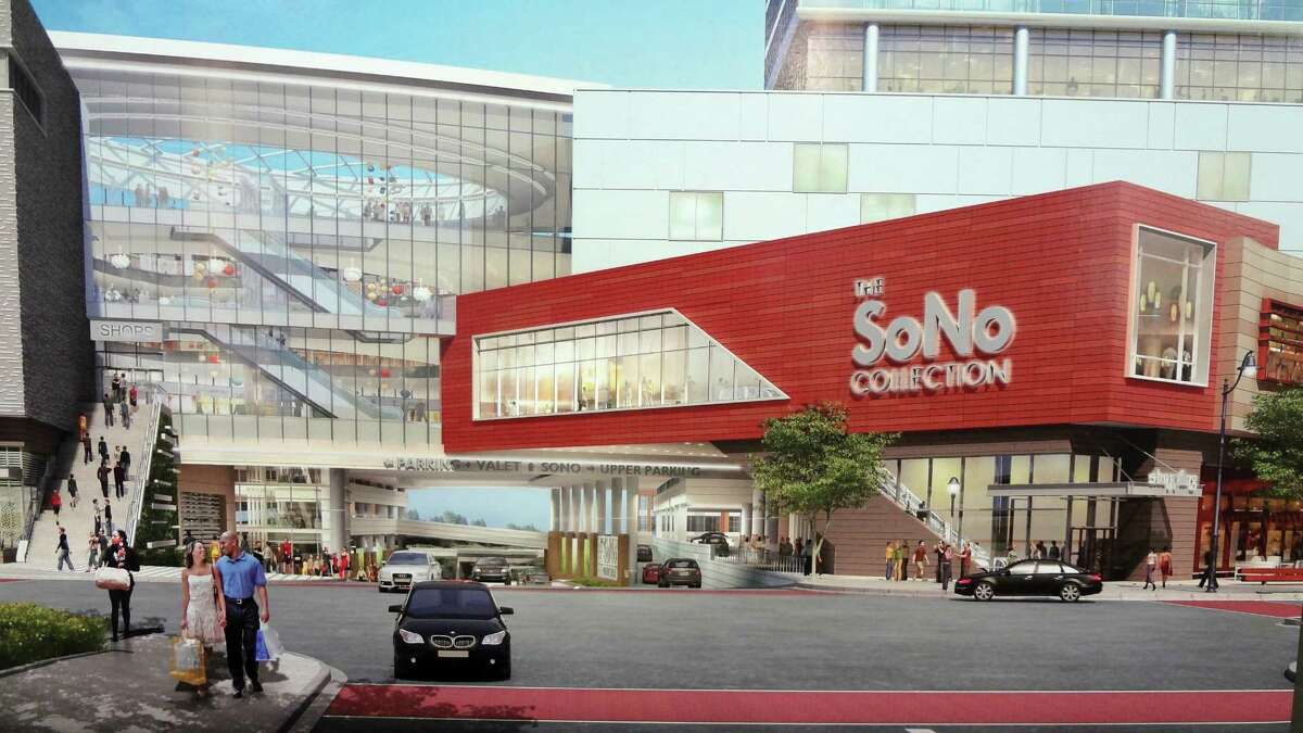 A rendering of the SoNo Collection mall scheduled to open in October 2018 in Norwalk, Conn., pending approvals.