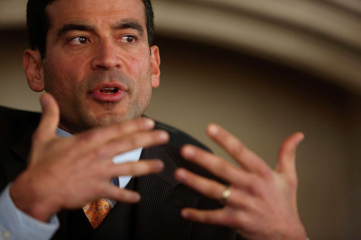 Nico LaHood speaks to the Express-News Editorial Board on Dec. 29, 2014.