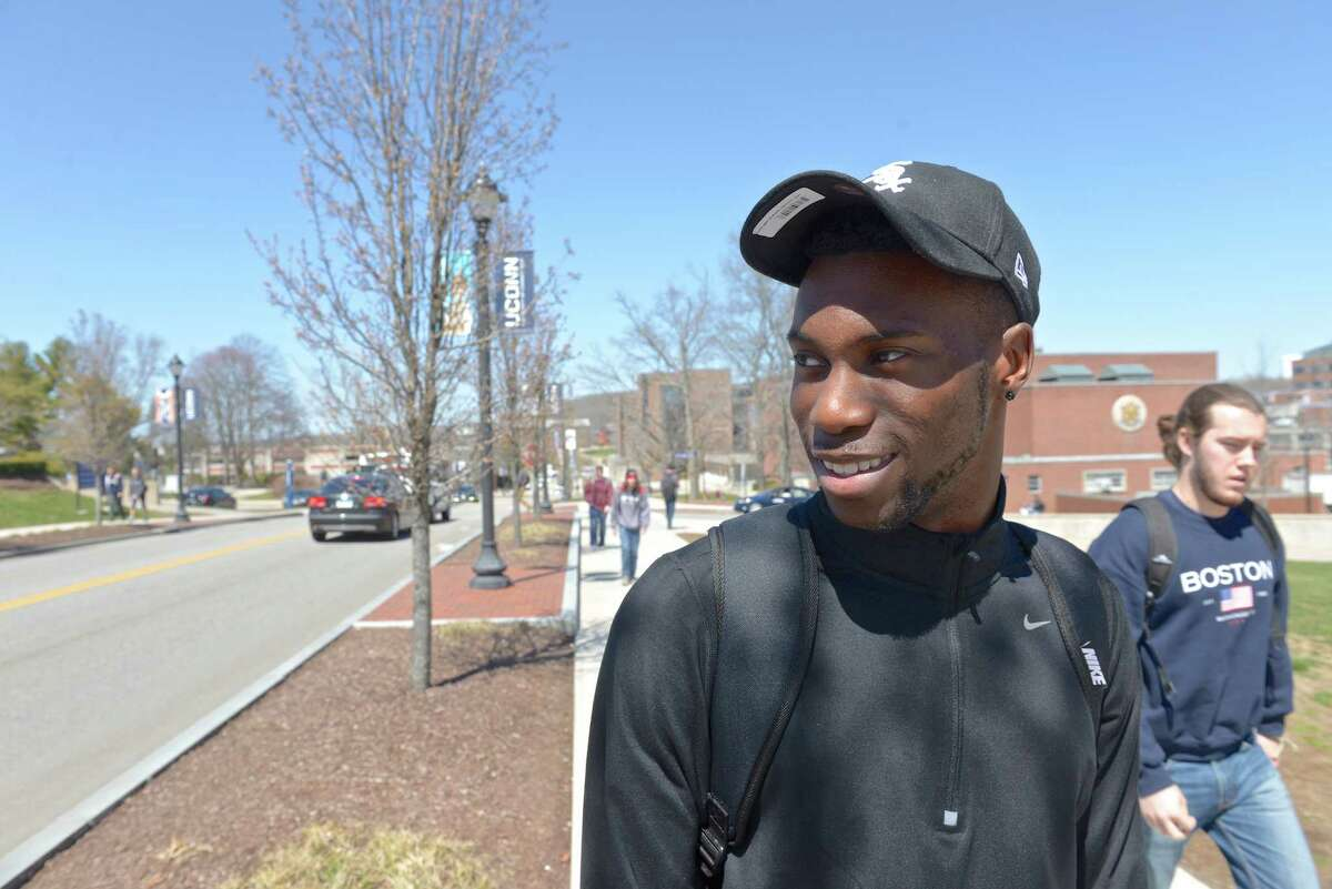 New Jersey's Chinedu Amonu, a junior at the University of Connecticut in Storrs, talks about UConn's planned housing for black males at NextGen Hall, a housing community of more than 700 students participating in eight