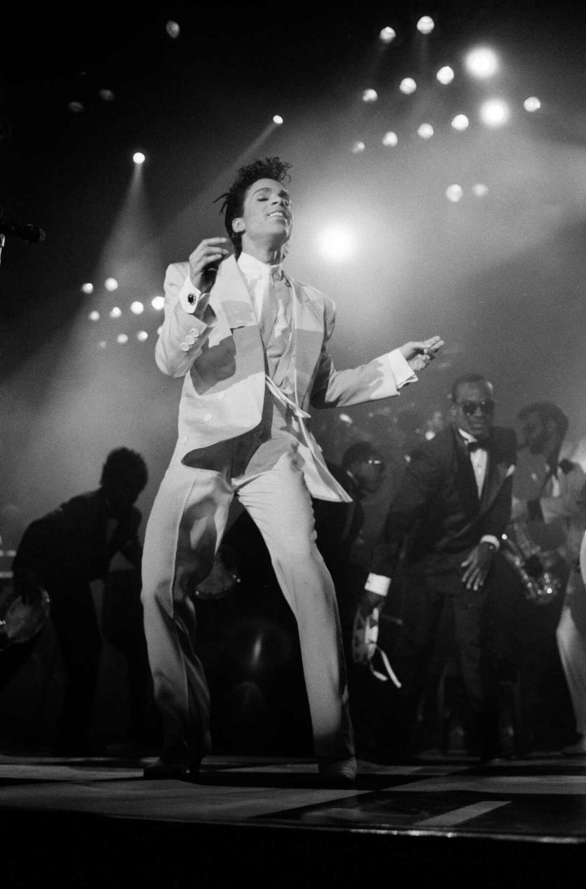 American singer and musician Prince performing in London, 1986.