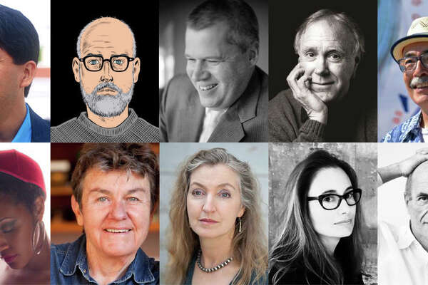 Authors attending the Bay Area Book Festival include (clockwise, from left) Sherman Alexie, Daniel Clowes, Daniel Handler, Robert Hass, Juan Felipe Herrera, Colm Tóibín, Dana Spiotta, Rebecca Solnit, Kay Ryan and Chinaka Hodge.
