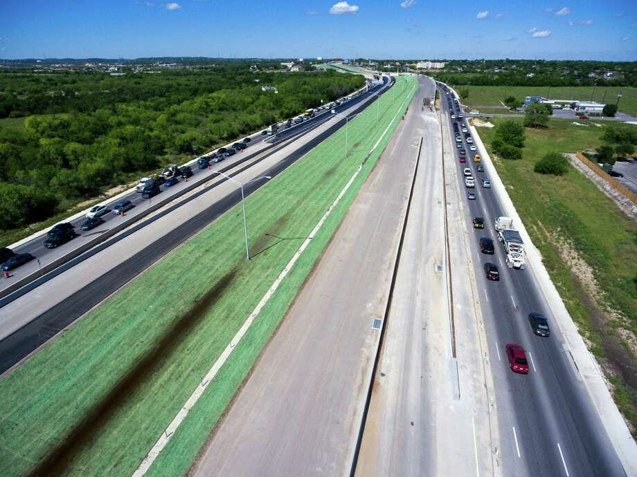 Soon-to-open traffic lanes on Loop 1604 south of Bandera Road are seen Thursday, April 14, 2015 in an aerial image made with a remote controlled quadcopter Photo: William Luther, Staff / San Antonio Express-News / © 2016 San Antonio Express-News