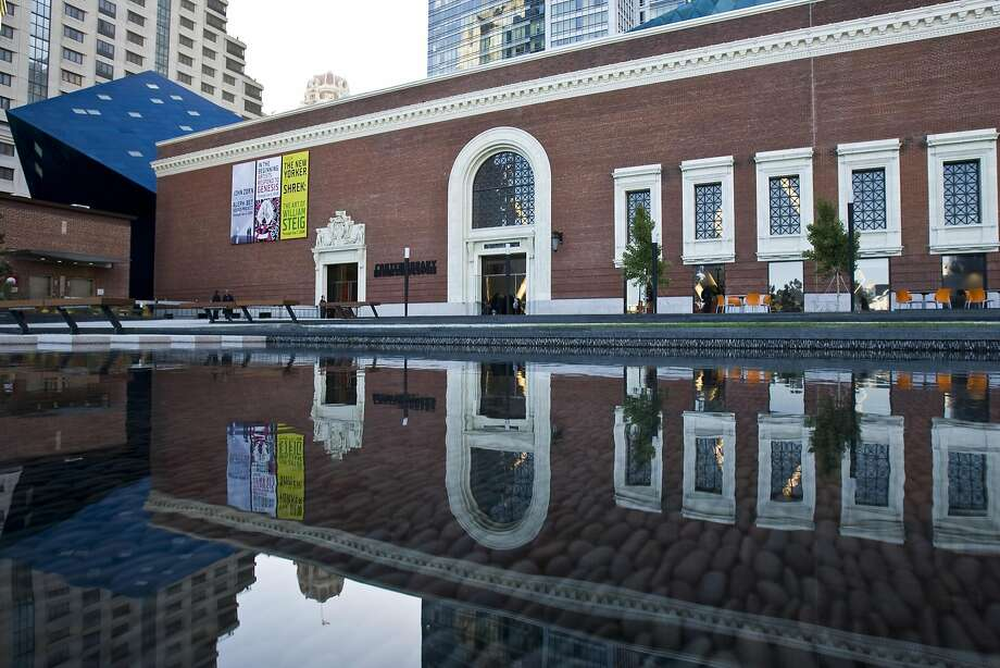 The reflecting pond in Jessie Square out front of the Contemporary Jewish Museum. Photo: Peter DaSilva, Special To The Chronicle