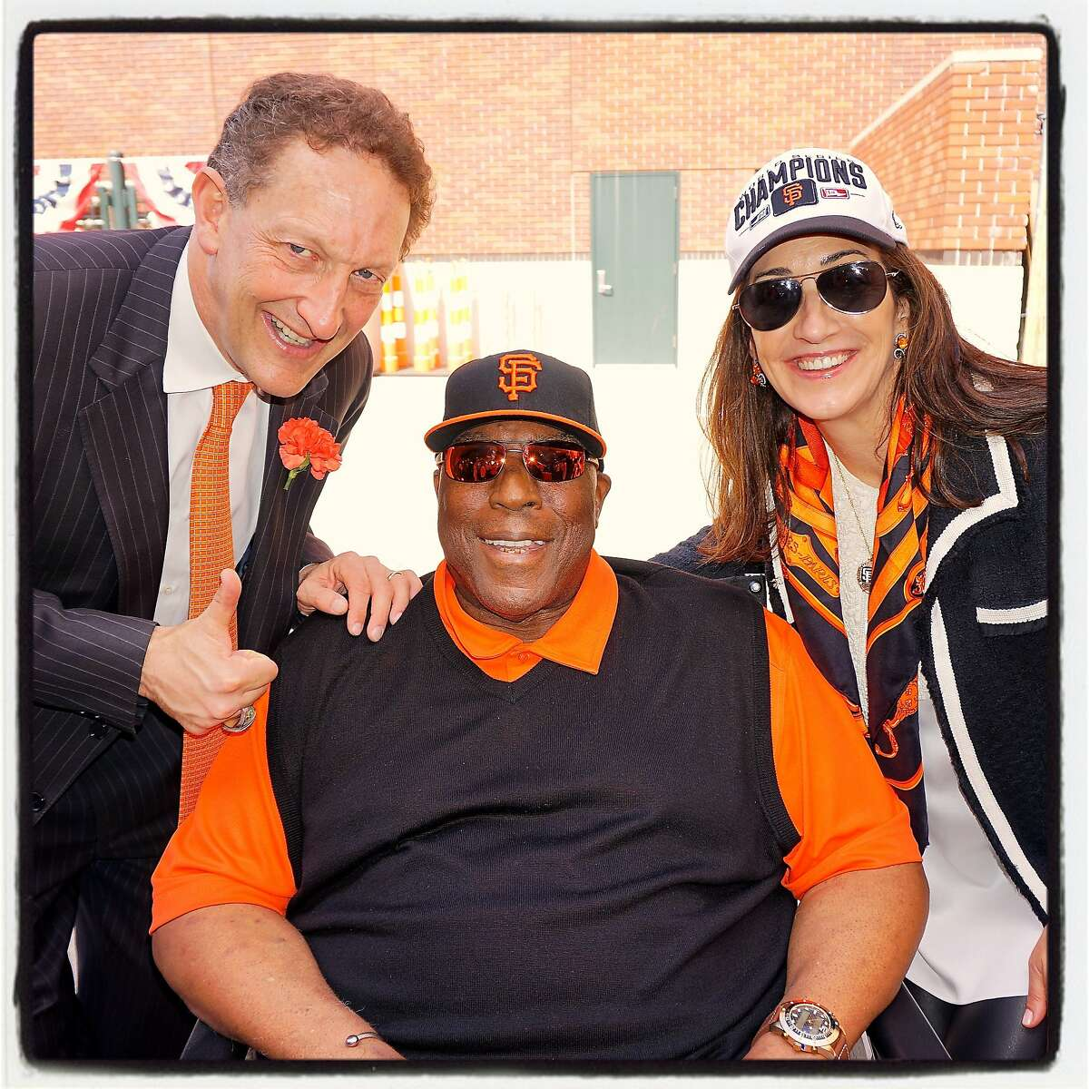 SF Giants President-CEO (left) with Hall-of-Famer Willie McCovey and his wife, Pam Baer, at AT&T ballpark for the team's home opener. April 2016.