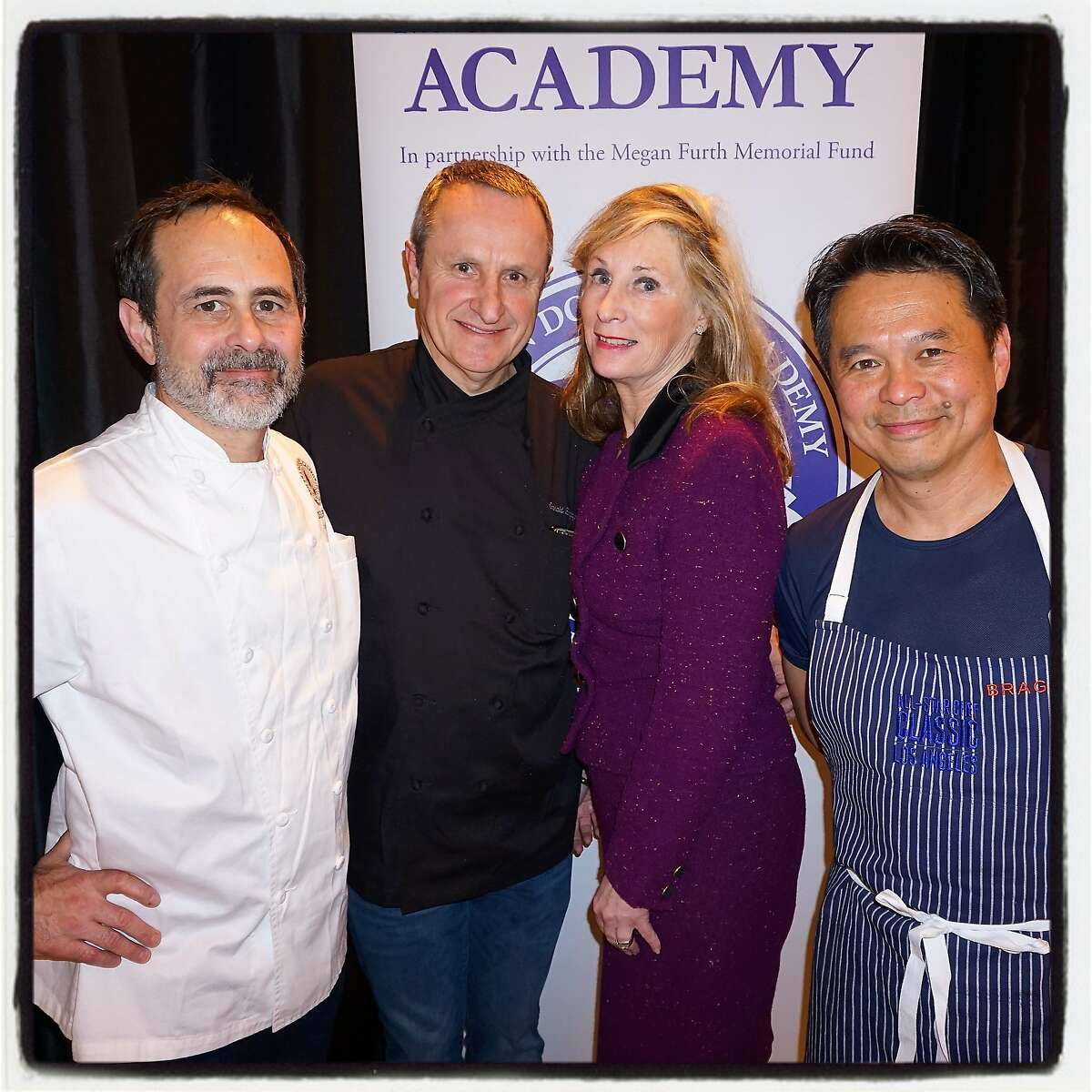 Chef Craig Stoll (left) with chef Charles Hirigoyen, lunch chair Sara Duryea and chef Charles Phan at the Mission Dolores Academy fundraiser. April 2016.