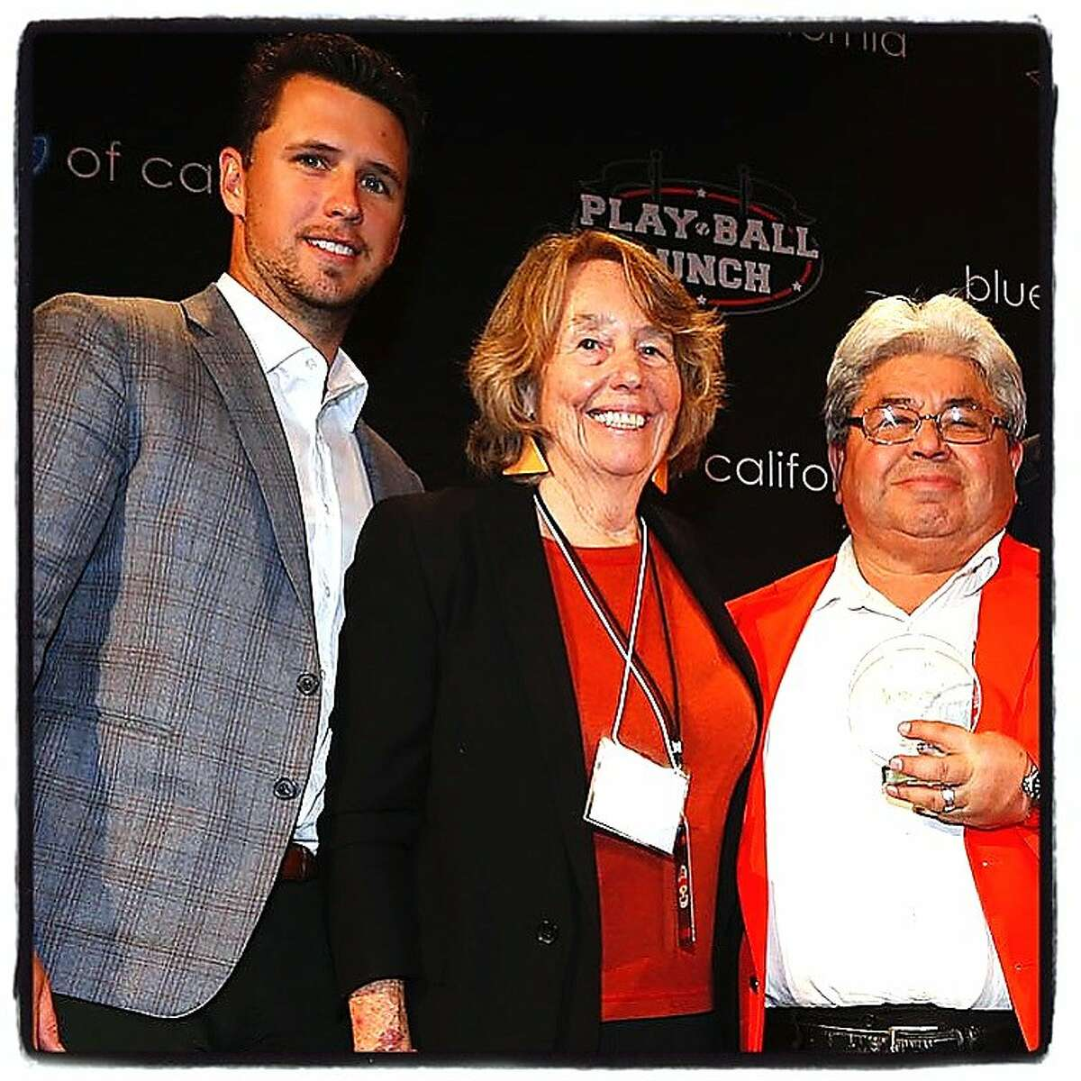 Junior Giants Commissioner and pitcher Buster Posey (left) with Giants Community Fund Board President Denise McCarthy and Junior Giants Coach Mike Rodriguez at the Play Ball Lunch. March 2016.