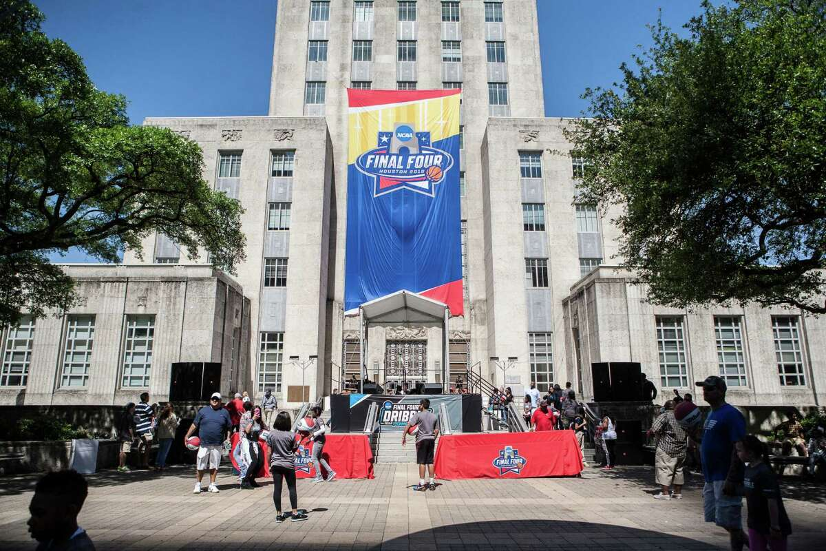 Houston City Hall decorated with NCAA FInal Four banners (Michael Starghill, Jr.)