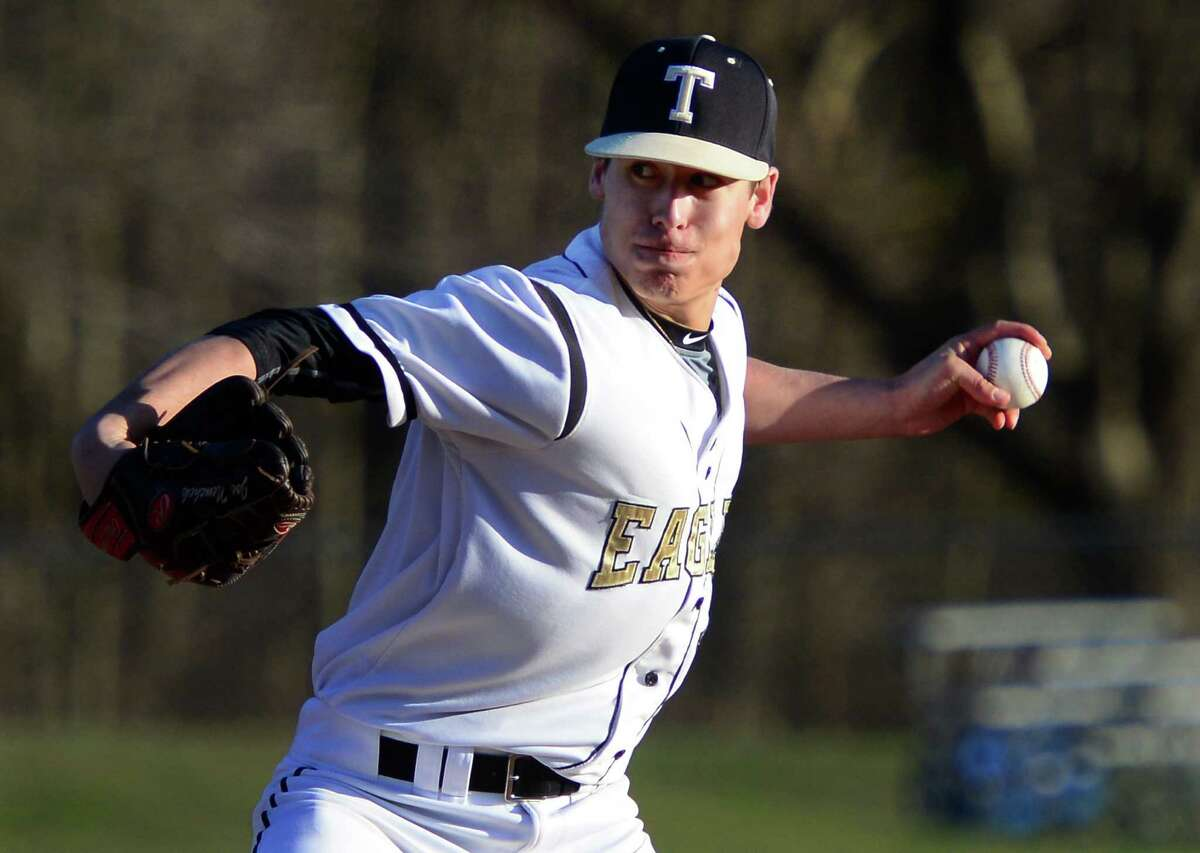 Trumbull ace Joe Necheck was called upon to get the final out of the game in the Eagles' 3-2 win over Warde on Friday.