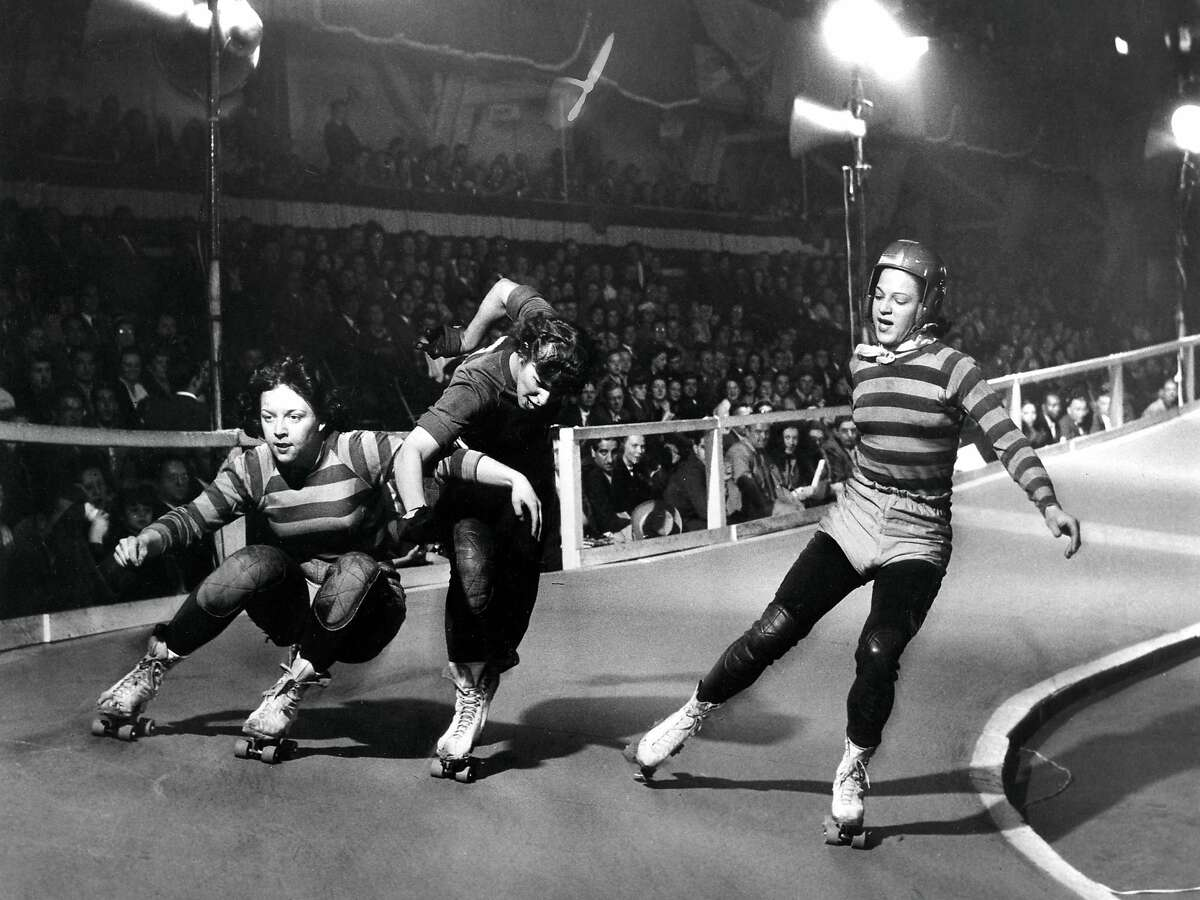Roller Derby at the Cow Palace. Likely from the late 1940s or 1950s.