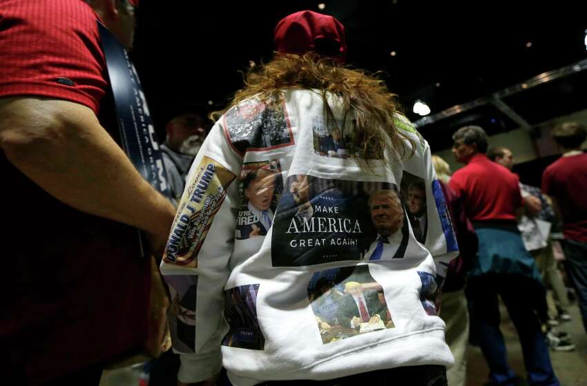 Supporters wait for Republican presidential candidate Donald Trump during a campaign event in Hartford, Conn., Friday, April 15, 2016.