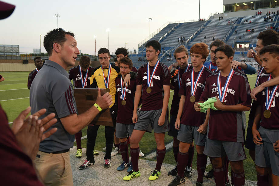 Cinco Ranch head coach Mason Whitfield congratulates his team on their season and their effort against Coppell in their Boys Class 6A semifinal matchup at the UIL Soccer State Championships at Birkelbach Field in the Georgetown ISD Athletic Complex in Georgetown on Friday, April 15, 2016. (Photo by Jerry Baker/Freelance) Photo: Jerry Baker, For The Houston Chronicle