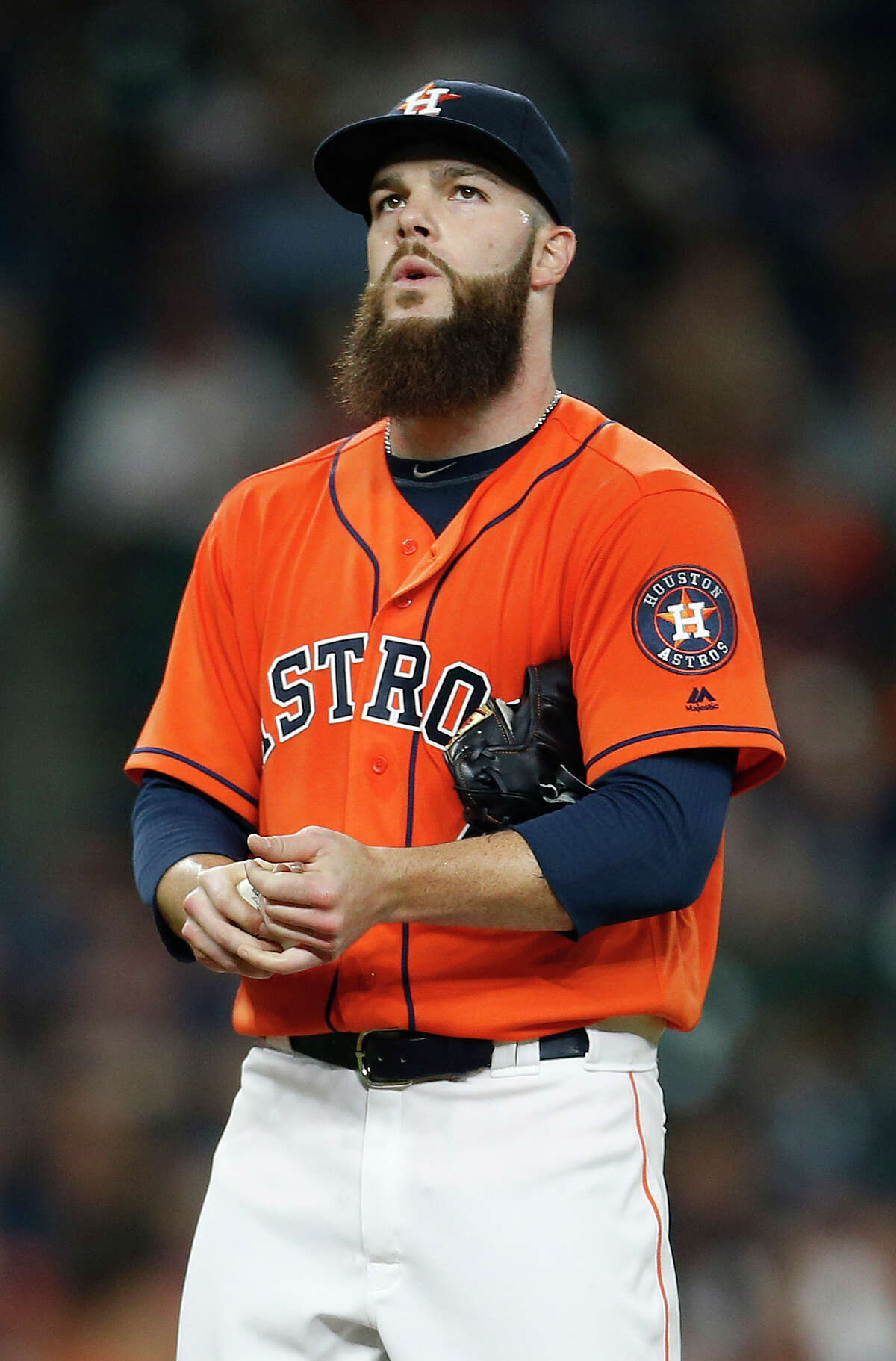 Houston Astros starting pitcher Dallas Keuchel (60) between pitches during the sixth inning of an MLB baseball game at Minute Maid Park, Friday, April 15, 2016, in Houston.