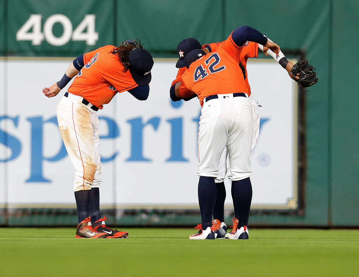 Outfield dabbing Dabbing has been around southern rap for a few years, but it really took off last year when the rap group Migos drew attention to it. Then, Cam Newton made it part of his touchdown dance and it really took off. Unfortunately, that led to 69-year-old Virginia Tech football coach Frank Beamer hitting the dab, and then a meteorologist did it, and then probably your grandmother did it. By the time baseball season rolled around The Dab wasn't even in the same vicinity as cool. That didn't stop Carlos Gomez from dabbing after hits in Spring Training, and the Astros outfielders are still dabbing as part of their postgame celebration. They might as well be Cabbage Patching out there.