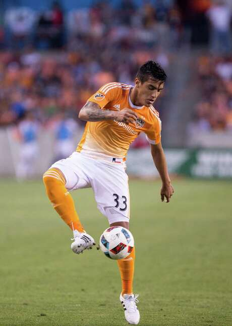 Houston Dynamo midfielder Leonel Miranda (33) trapping the ball on the field during the second half of action against LA Galaxy during a soccer game at the BBVA Stadium, Friday, Apr. 15, 2016, in Houston. Los Angeles Galaxy defeated Houston Dynamo 4-1. ( Juan DeLeon / For the Houston Chronicle ) Photo: Juan DeLeon, For The Chronicle / Houston Chronicle