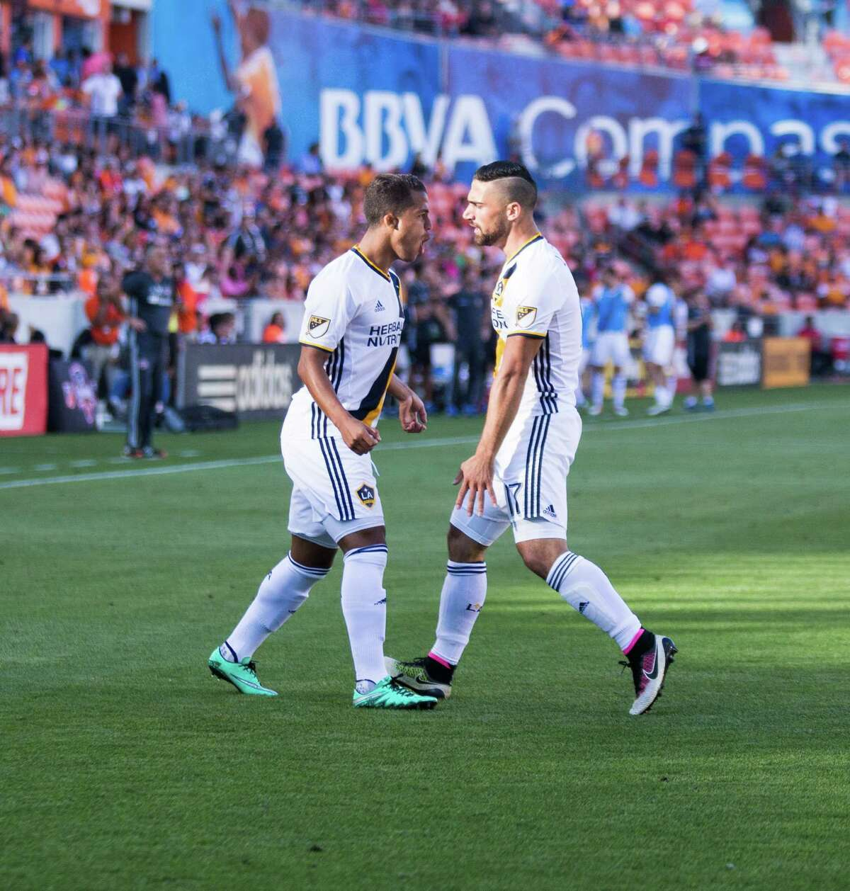 Los Angeles Galaxy forward Giovani dos Santos (10) reacting with Sebastian Lletget (17) after dos Santos scored a goal during the first half of action LA Galaxy at Dynamo during a soccer game at the BBVA Stadium, Friday, Apr. 15, 2016, in Houston. ( Juan DeLeon / For the Houston Chronicle )