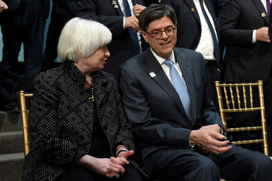 Federal Reserve Chair Janet Yellen and Treasury Secretary Jacob Lew talk at the G-20 Finance Minister and Central Bank Governors group photo, during the World Bank/IMF Spring Meetings at IMF headquarters in Washington, Friday, April 15, 2016. (AP Photo/Sait Serkan Gurbuz) Photo: Sait Serkan Gurbuz, FRE / FR171401 AP