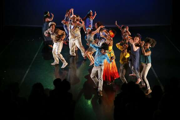 Dancers with Teatro Brasileiro de Dance: the Bahia in Oakland Collective perform during the 12th annual Cuba Caribe Festival at the Dance Mission Theater in San Francisco, California on Fri. April 15, 2016.