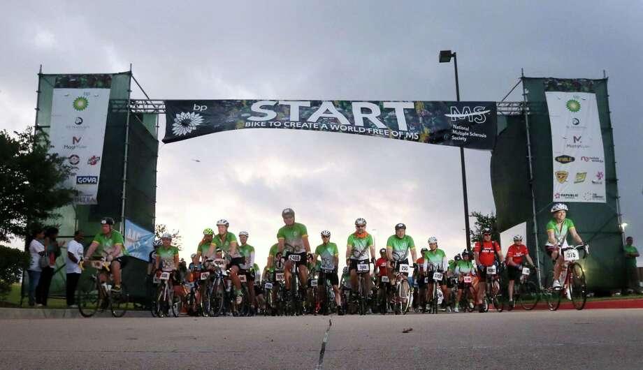 Riders start the BP MS 150 at Darrell Tully Stadium, Saturday, April 16, 2016, in Houston. Photo: Jon Shapley, Houston Chronicle / © 2015  Houston Chronicle