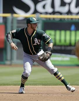 Oakland Athletics second baseman Eric Sogard against the San Francisco Giants during a spring training baseball game in Scottsdale, Ariz., Monday, March 21, 2016. (AP Photo/Jeff Chiu)