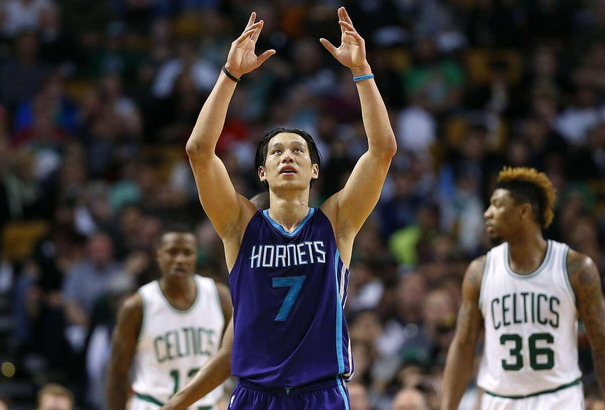 Charlotte Hornets' Jeremy Lin reacts as he comes back down the court during the second quarter of an NBA basketball game against the Boston Celtics in Boston Monday, April 11, 2016. (AP Photo/Winslow Townson)