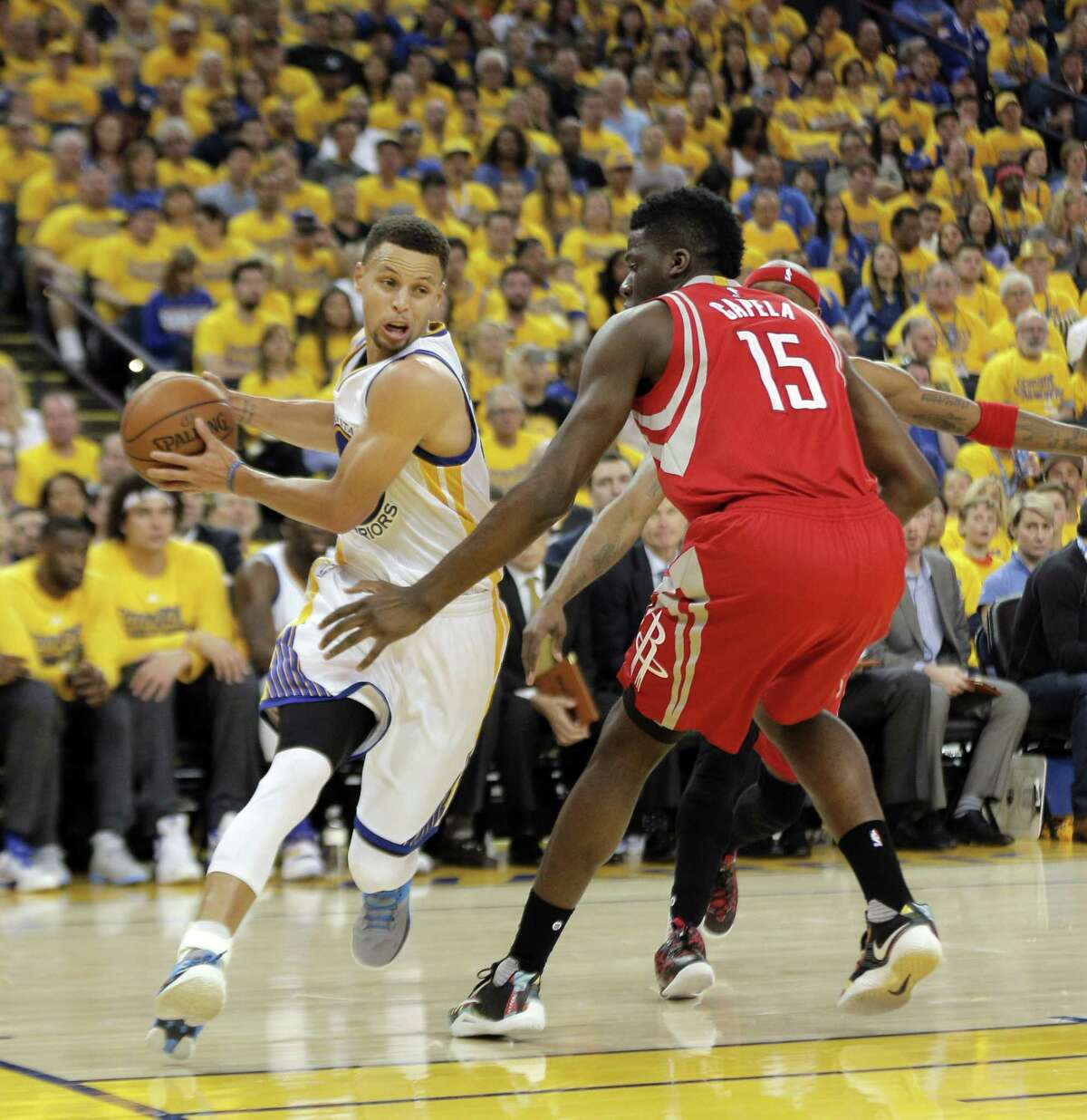 First round Game 1 April 16: Warriors 104, Rockets 78 The Warriors did not have Curry for most of the second half due to an ankle injury, but the club still rolled over the Rockets. Record: 1-0 Warriors lead series