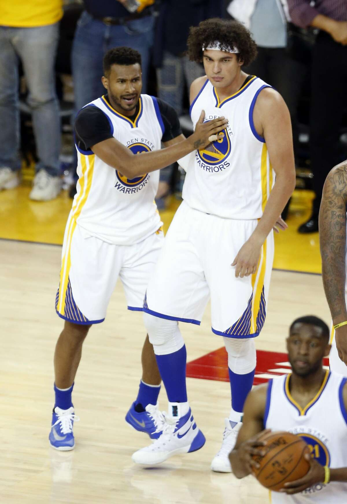 Golden State Warriors' Leandro Barbosa and Anderson Varejao at en dog 104-78 win over Houston Rockets in Game 1 of 1st round of NBA Playoffs at Oracle Arena in Oakland, Calif., on Saturday, April 16, 2016.