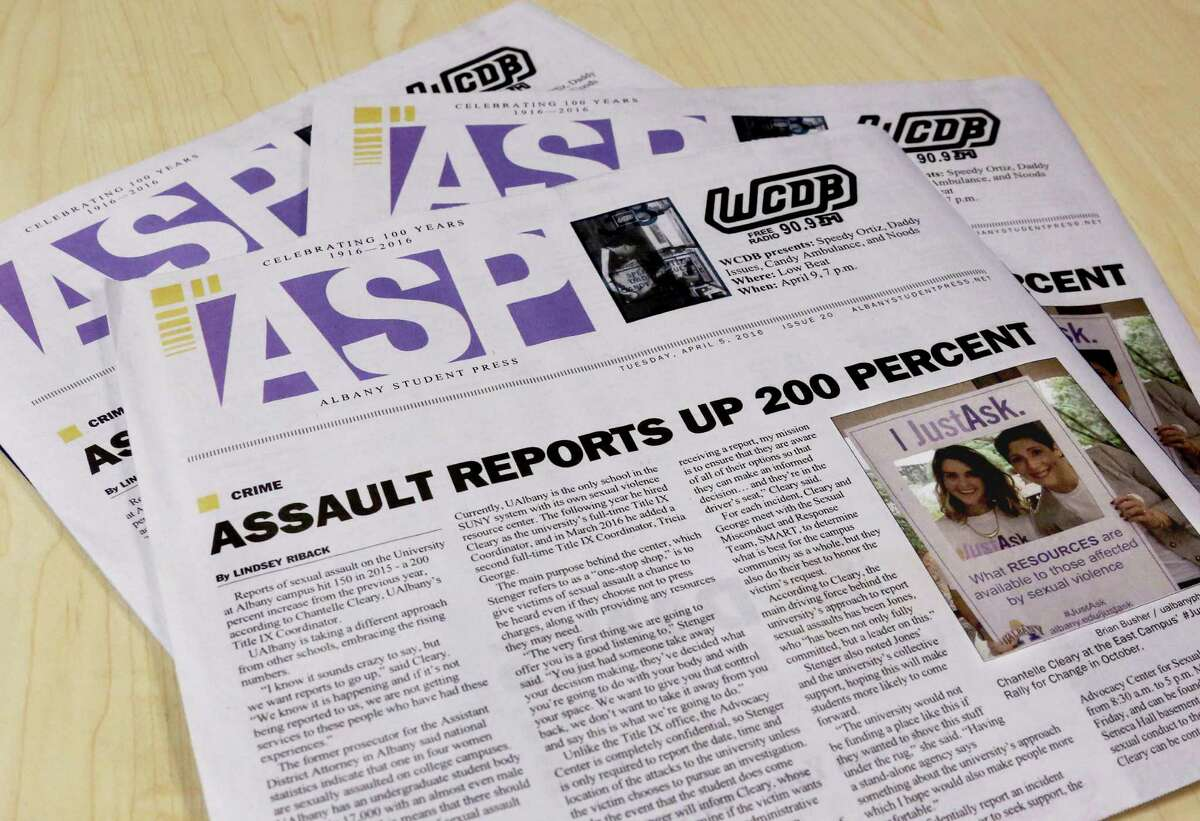 Students and families attending UAlbany's two-day Open House weekend event on Saturday, April 16, didn't see this Albany Student Press edition reporting a 200 percent increase in sexual assaults, published Tuesday, April 5. The newspapers had been removed from several metal racks such as this one in the Lecture Center Concourse ? where faculty had set up tables to interface with incoming students.