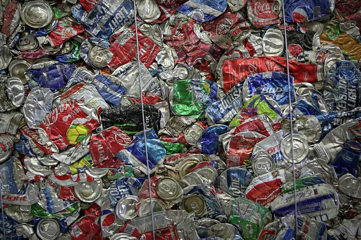 A bale of aluminum cans at Texas Disposal Systems' materials recoveryg facility, or MRF, on the site of their landfill in Creedmoor. It's unusual for a landfill to also host a MRF, but it allows TDS owners to hold onto metal and other recyclables until commodities prices rise.