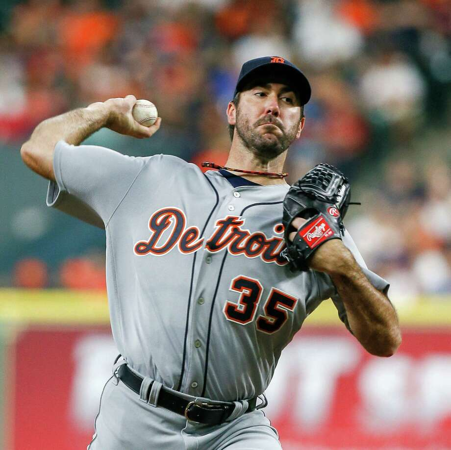 Detroit Tigers' Justin Verlander (35) pitches during the first inning against the Houston Astros in a baseball game, Saturday, April 16, 2016, in Houston.  (AP Photo/Bob Levey) Photo: Bob Levey, Associated Press / FR156786 AP
