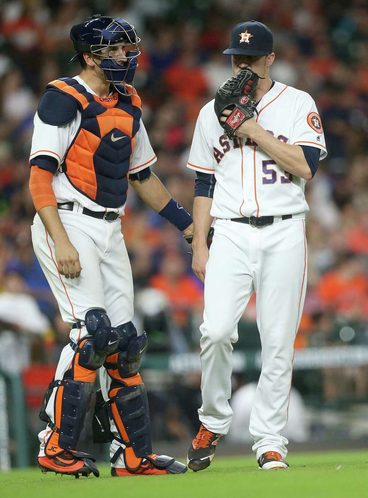 Little has gone right for Astros newcomer Ken Giles (right) this season.
