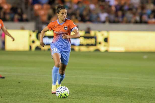Dash midfielder Carli Lloyd (10) looks to shoot from the center of the field in a National Women's Soccer League game at BBVA Compass Stadium on Saturday, April 16, 2016, in Houston,TX.