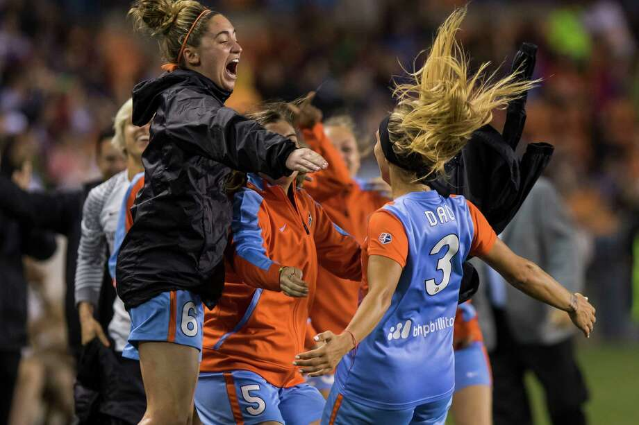 Dash forward Rachel Daly (3) celebrates with her team after scoring the Dash's first goal of the game in a National Women's Soccer League game at BBVA Compass Stadium on Saturday, April 16, 2016, in Houston,TX. Photo: Joe Buvid, For The Chronicle / © 2016 Joe Buvid