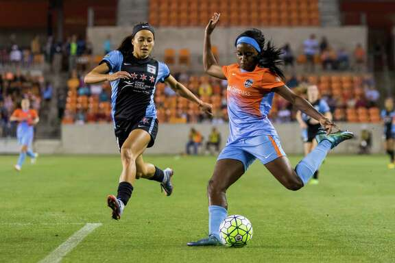 Dash forward Chioma Ubogagu (9) attempts a shot on goal late in the second half of a National Women's Soccer League game at BBVA Compass Stadium on Saturday, April 16, 2016, in Houston,TX.