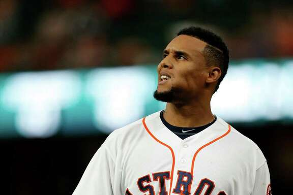 Houston Astros center fielder Carlos Gomez (30) reacts after grounding out to end the sixth inning of an MLB game at Minute Maid Park, Wednesday, April 13, 2016, in Houston. ( Karen Warren / Houston Chronicle )