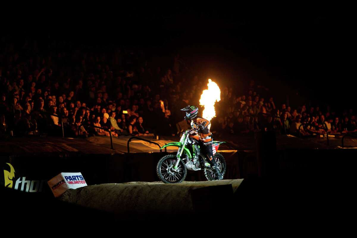 Arenacross class racer Chris Blose is introduced to the crowd at AMSOIL Arenacross at the Tacoma Dome on Saturday, April 16, 2016.